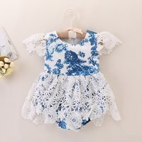Baby's Floral Lace Splicing Flare-sleeve Bodysuit