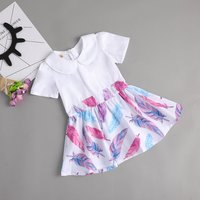 Baby/ Toddler Girl's Feather Pattern Dress