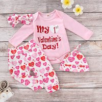Baby Girl 4-pieces MY 1ST VALENTINE'S DAY Heart Outfits