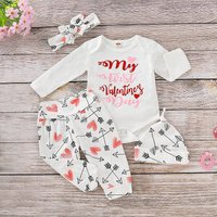 Baby MY FIRST VALENTINE'S DAY Bodysuit, Pants, Hat and Headband Set