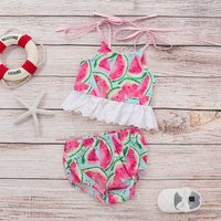 Baby Girl's Watermelon Strap Top and Shorts Set