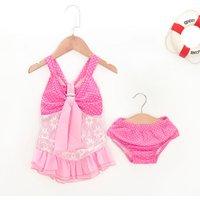 Baby Girl's Polka Dots Lace Swimwear and Shorts
