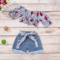Baby/ Toddler Girl's Floral Striped Top and Bow Frayed Jeans