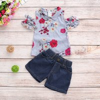 Baby/ Toddler Girl's Striped Floral Print Dress and Denim Shorts