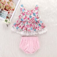 Baby Girl's Floral Allover Lace Decor Dress and Solid Shorts
