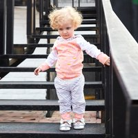 Baby Dotted Crown Hoodie and Striped Pants Set