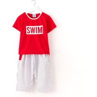 'SWIM' Letter Printed Tee and Striped Pants Set for Kid