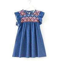 Fashionable Boho Pattern Embroidered Flutter-sleeve Denim Dress
