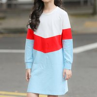 Sporty Color Blocked Long-sleeve Dress