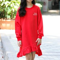 Casual Letter Print Long-sleeve Dress