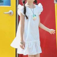 Fashionable Solid Flutter-sleeve Dress