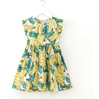 Fresh Banana Patterned Flutter-sleeve Dress