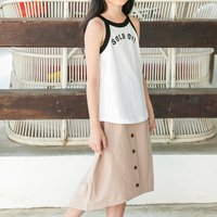 Casual Letter Print Tank Top and Skirt Set