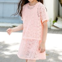 3-piece Pretty Solid Tank Top, Lace Tunic and Skirt Set