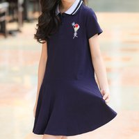 Casual Polo Collar Short-sleeve Dress