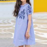 Stylish Striped Flower Embroidered Short-sleeve Dress