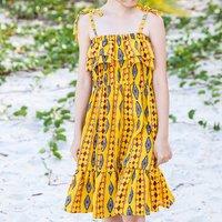 Stylish Ethnic Patterned Slip Dress in Yellow