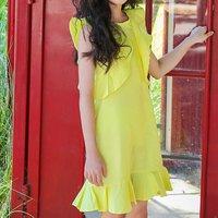 Elegant Solid Flutter-sleeve Dress