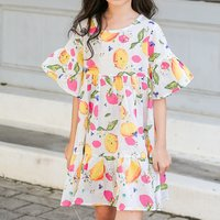 Fresh Lemon Pattern Half-sleeve Dress