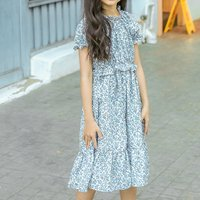 Sassy Floral Short-sleeve Ruffled Dress