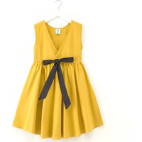 Casual Solid Bowknot Decor Sundress