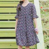 Casual Floral Short-sleeve High Waist Dress