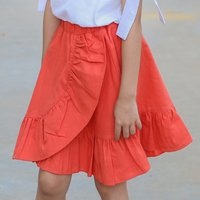 Casual Solid Ruffled Skirt
