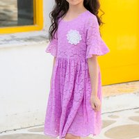 Fashionable Flower Decor Short-sleeve Lace Dress