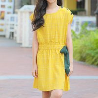 Fashionable Button Decor Short-sleeve Dress in Yellow
