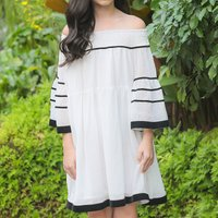 Elegant Off Shoulder Flare-sleeve Dress