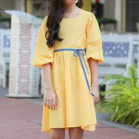 Stylish Solid Half-sleeve Linen Dress