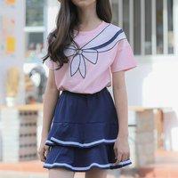 Fashionable Bowknot Print Short-sleeve Top and Skirt Set