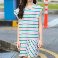 Fashionable Asymmetric Design Striped Dress