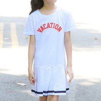 Sporty Letter Print Short-sleeve Pleated Dress
