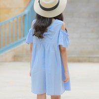 Sweet Solid Cold Shoulder Short-sleeve Dress