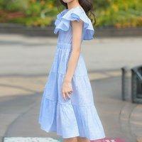 Beautiful Striped Ruffled Dress in Light Blue