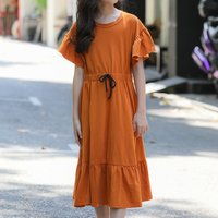 Fashionable Solid Ruffled Short-sleeve Dress