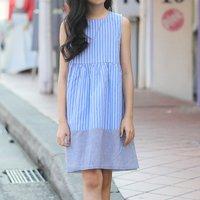 Comfy Striped Sundress in Light Blue