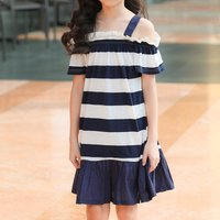 Fashionable Striped Cold Shoulder Dress