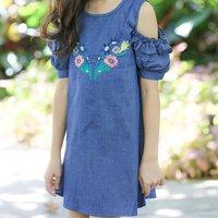 Fashionable Embroidered Cold Shoulder Denim Dress