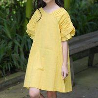 Comfy Solid Lantern Sleeve Dress in Yellow
