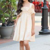 Sassy Solid Ruffled Design Slip Dress in Beige