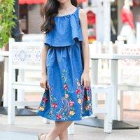 Fancy Embroidered Design Denim Slip Dress