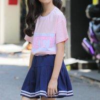 Stylish PRETTY Print Short-sleeve T-shirt and Skirt Set