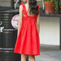 Pretty Solid Flutter-sleeve Slip Dress