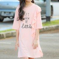 Fashionable Letter Print Ruffled Half-sleeve Dress