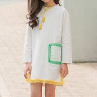 Fashionable Lace-trimmed Long-sleeve Dress
