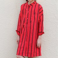 Fashionable Striped Long-sleeve Dress in Red