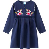 Casual Embroidered Long-sleeve Dress in Royal Blue