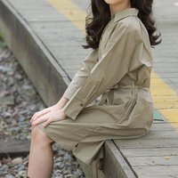 Cool Solid Long-sleeve Belted Dress